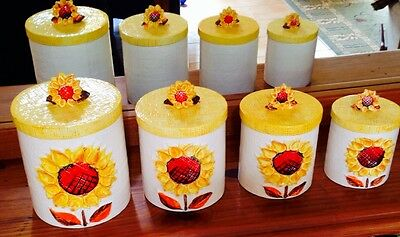 Vintage c1950s Napcoware C-8247 ceramic canisters sunflower finial RETRO