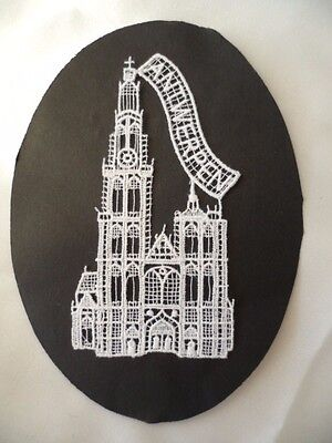 Vintage Belgium hand made lace motif Souvenir old Antwerpen Cathedral  handmade