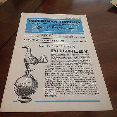 SPURS V BURNLEY 5/01/1963.  3rd Round Of FA.CUP. Vgc.