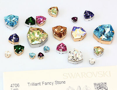 Genuine SWAROVSKI 4706 Trilliant Fancy Crystals with Sew On Metal Settings