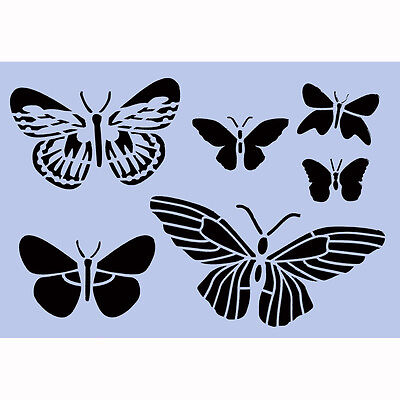 Butterflies Stencil A4 Re-Usable Shabby Chic Airbrush French Wall Craft DIY 043