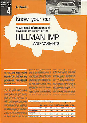 HILLMAN IMP SINGER CHAMOIS SUNBEAM SPORT original UK 'Know Your Car' leaflet