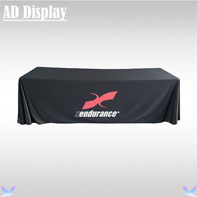 8ft Loose Fit Trade Show Booth Polyester Fabric Advertising Table Throw Printing