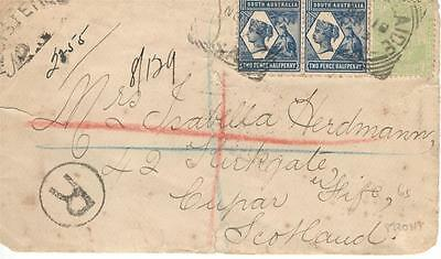 a67 Australia Registered cover from South Australia to Scotland with square