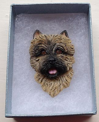CAIRN RESCUE Resin Hand Painted Wheaten Brindle Cairn Terrier Dog BROOCH