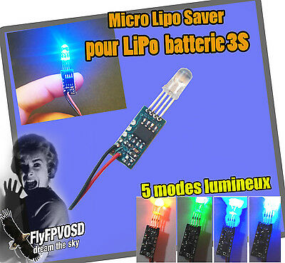 Micro lipo saver for 3S batterie battery 12V, 5 modes lumineux voltage, RC FPV