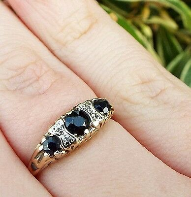 Vintage 1986 Victorian Style Ornate 9ct Yellow Gold Sapphire Diamond Ring Size O