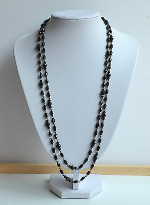 ANTIQUE VICTORIAN MOURNING NECKLACE BLACK JET GLASS hand wired 53''