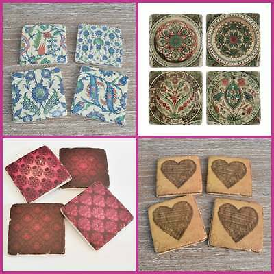 Set of 4 French Shabby Chic Ceramic Tile Coasters Antique Vintage Style Drinks