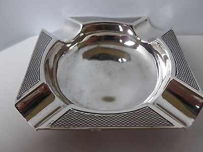 Solid silver square ashtray with engine turned design