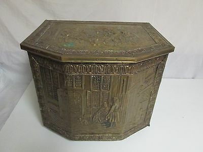 Antique Embossed Hammered Brass on Wood Coal Scuttle Firewood Kindling Box