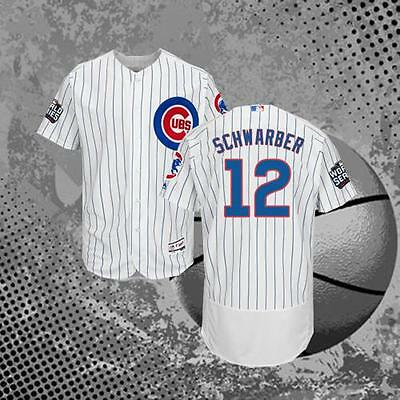 Chicago Cubs #12 Kyle Schwarber 2016 World Series Cool Baseball Jersey White Men