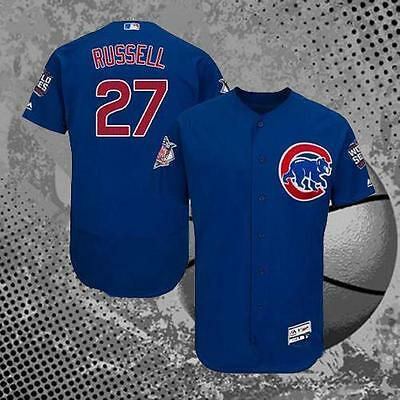 2016 World Series Baseball Jersey Grey #27 Addison Russell Chicago Cubs