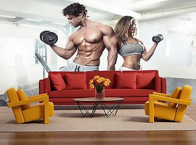 Workout in Gym Wall Mural Photo Wallpaper GIANT WALL DECOR Paper Poster