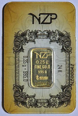 0.25 Gram 24K 995/1000 Pure Solid Gold NZP Bullion LBMA Sealed & Serial Number