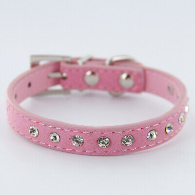 Pet Dog Puppy Cat Pink Cow Suede Buckle Neck Collar w/ Rhinestone Decor Size XS