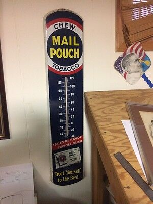 """Chew Mail Pouch Tobacco Metal """"treat Yourself To The Best"""" Thermometer 39 Inches"""