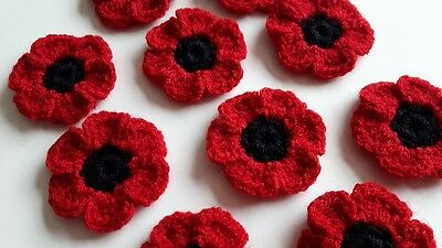 10 crochet wool poppy flowers embellishments appliques wedding poppies crafts