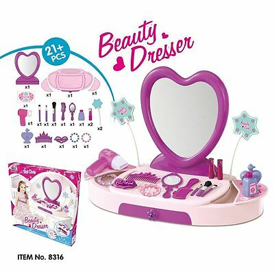 Princess Girls Glamour Mirror Dressing Table Pretend Play Set Fun Makeup Beauty
