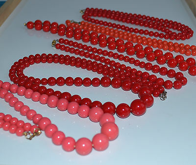vintage lot 6 pcs faux coral plastic necklace shades of red salmon pink