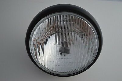 "7"" British Style Matte Black Motorcycle Motorbike Headlight 12v55w - UK SELLER"