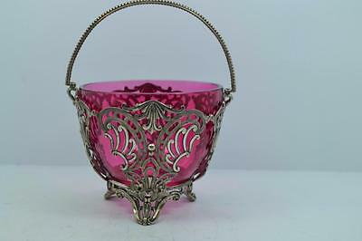 Victorian silver plated cranberry glass basket date marks rococo design as found