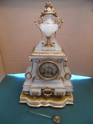 Victorian  White And Gilt Mantle  Clock By Japy Freres