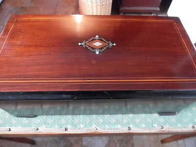 large swiss victorian rosewood inlaid  music box plays 10 airs--video--
