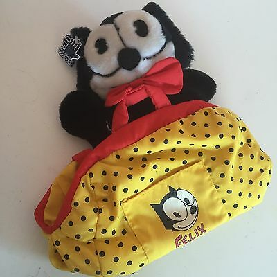 Felix The Cat Applause 1988 Hand Puppet Hand Bag Plush Toy Yellow Polka Dots VTG