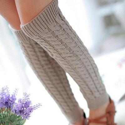 New Women Ladies Winter Warm Leg Warmers Cable Knit Knitted Crochet Long Socks