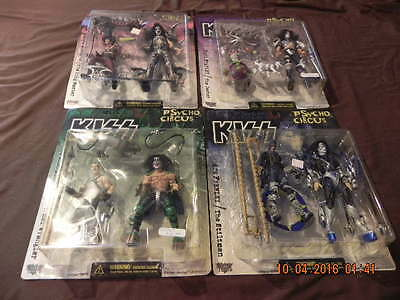 Lot Of 4 Brand New Kiss Psycho Circus Action Figures, Complete Set Of 4