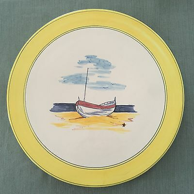 Cassis & Co. Hand Painted Cheese Or Cake Plate, Provence, France, Sail Boat