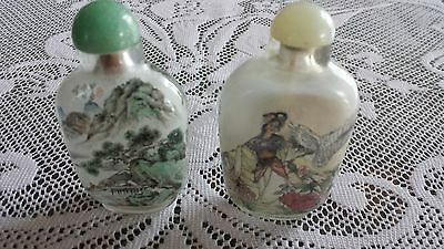 Vintage Inside-Painted Set of 2 Snuff Bottles with Boxes