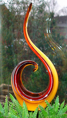 Murano Sommerso YELLOW  Art Glass Vase Bowl Sculpture Figurine 1960s 24cm height