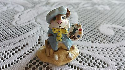 Wee Forest Folk  M-71 Arty Mouse BLUE Smock/ Retired/Box/MINT Condition