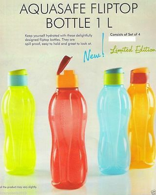 Tupperware Aquasafe Water Bottle Set of 4, Eco Sports Flip Top Bottle, 1L