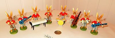 Vtg Erzgebirge Miniatures Rabbits Bunny Orchestra Set of 8 from ESCO in Germany