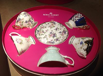 100 years of Royal Albert teacup and saucer 5 piece set new in box 1900 - 1940