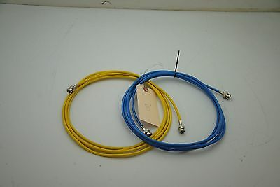 2 cables8 ft each , RG58 with BNC, lot of 2 1 each yellow, blue