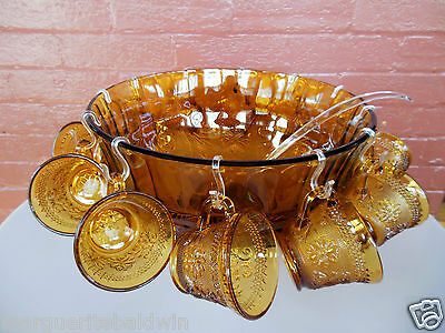 Tiara Indiana Glass Amber Sandwich Punch Bowl & Ladle & Cups & Hooks 26 pc Set