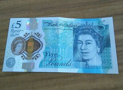 AC46 Bank of England Polymer RARE £5 Five Pound Note MISPRINT dots