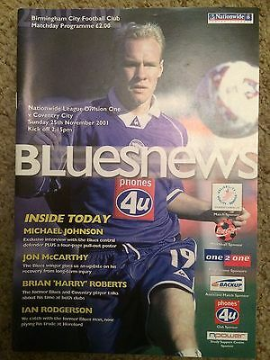 Birmingham City vs Coventry City Football Programme (Division One 25/11/2001)