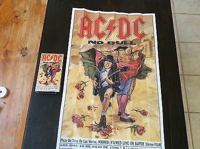 AC/DC No Bull 2-sided Madrid Tour 1996 Poster 18x28 & VHS OF THE CONCERT Madrid