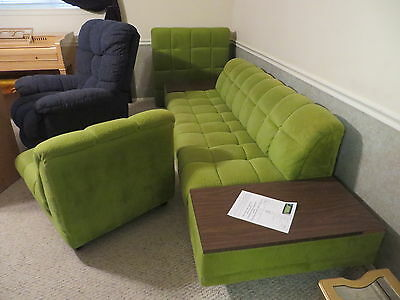 Adrian Pearsall Vintage Mid Century Modern Green Sofa Chair Ottoman-Pouf-Table