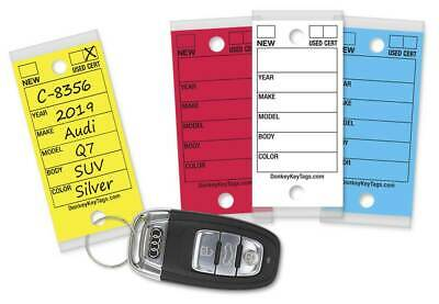 Car Dealer Key Tags (Laminated Self-Protecting) (250 Tags w/ Metal Rings)