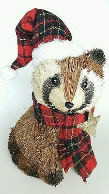 Blooming Holiday Christmas Raccoon Brown Straw Plaid Scarf Hat Forrest Animal