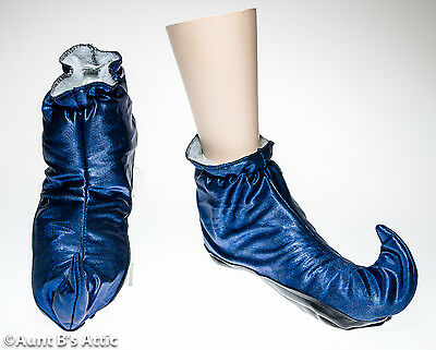 Jester/Elf Boots Blue Lame' Vinyl Bottom Adult Costume Booties One Size
