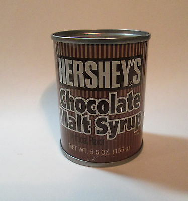 Vtg 1970s 5.5 oz Sample Size Hershey's Chocolate Malt Syrup Tin ~ Never Opened