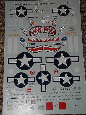 """Oop 1/48 Superscale P-47 """"thunderbolt"""" Shark Mouth Decals #48-1115"""