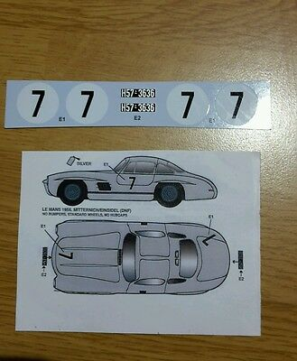 Decals Kit Maquette Mercedes 300 Sl Le Mans 1956 For Tamiya Studio 27 1/24